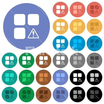 Component warning round flat multi colored icons - Component warning multi colored flat icons on round backgrounds. Included white, light and dark icon variations for hover and active status effects, and bonus shades on black backgounds.