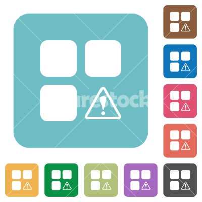 Component warning rounded square flat icons - Component warning white flat icons on color rounded square backgrounds