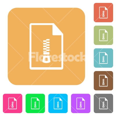 Compressed document rounded square flat icons - Compressed document flat icons on rounded square vivid color backgrounds.