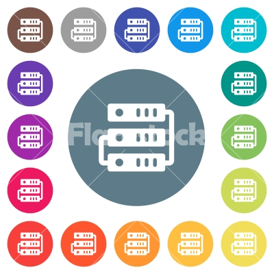 Connected servers flat white icons on round color backgrounds - Connected servers flat white icons on round color backgrounds. 17 background color variations are included.