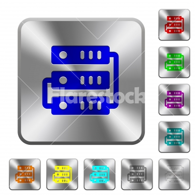 Connected servers rounded square steel buttons - Connected servers engraved icons on rounded square glossy steel buttons