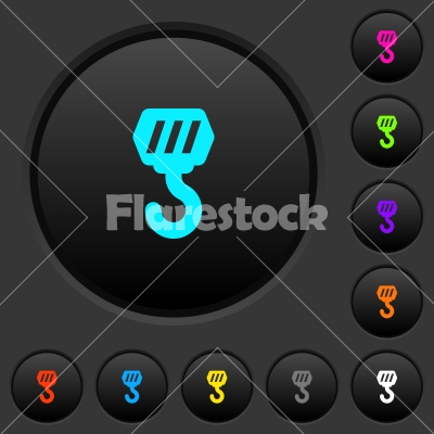 Construction hook dark push buttons with color icons - Construction hook dark push buttons with vivid color icons on dark grey background