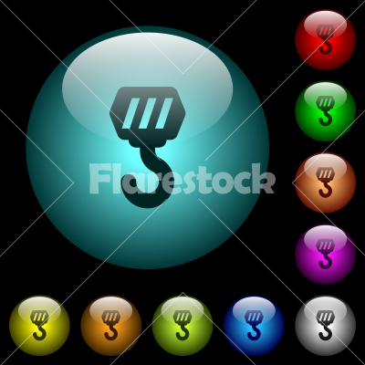 Construction hook icons in color illuminated glass buttons - Construction hook icons in color illuminated spherical glass buttons on black background. Can be used to black or dark templates