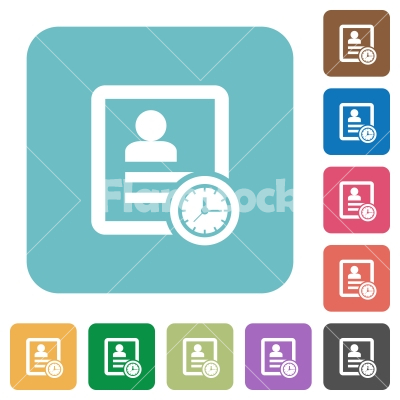 Contact appointment rounded square flat icons - Contact appointment white flat icons on color rounded square backgrounds