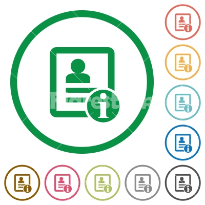 Contact information flat icons with outlines - Contact information flat color icons in round outlines on white background
