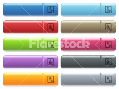 Contact processing icons on color glossy, rectangular menu button - Contact processing engraved style icons on long, rectangular, glossy color menu buttons. Available copyspaces for menu captions.