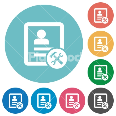 Contact tools flat round icons - Contact tools flat white icons on round color backgrounds