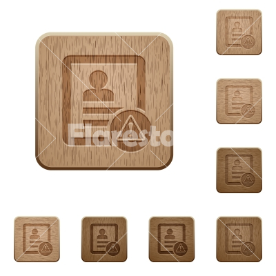 Contact warning wooden buttons - Contact warning on rounded square carved wooden button styles