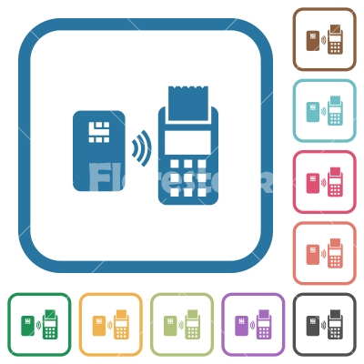 Contactless payment simple icons - Contactless payment simple icons in color rounded square frames on white background