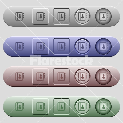 Contacts icons on horizontal menu bars - Contacts icons on rounded horizontal menu bars in different colors and button styles