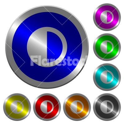 Contrast control luminous coin-like round color buttons - Contrast control icons on round luminous coin-like color steel buttons