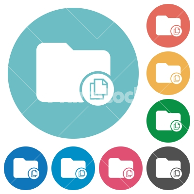 Copy directory flat round icons - Copy directory flat white icons on round color backgrounds