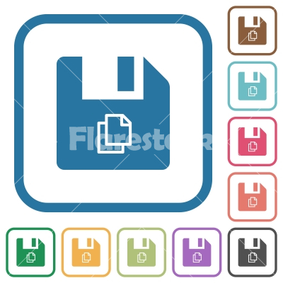 Copy file simple icons - Copy file simple icons in color rounded square frames on white background