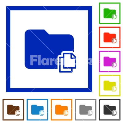 Copy folder framed flat icons - Set of color square framed Copy folder flat icons