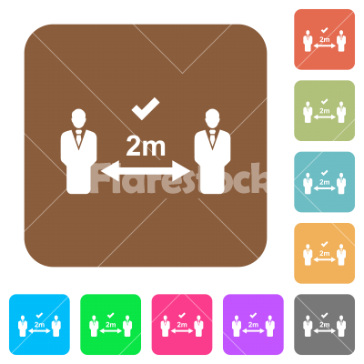 Correct social distancing rounded square flat icons - Correct social distancing flat icons on rounded square vivid color backgrounds.