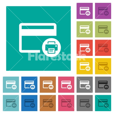 Credit card print record square flat multi colored icons - Credit card print record multi colored flat icons on plain square backgrounds. Included white and darker icon variations for hover or active effects.