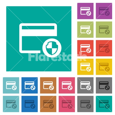 Credit card security square flat multi colored icons - Credit card security multi colored flat icons on plain square backgrounds. Included white and darker icon variations for hover or active effects.