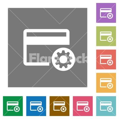 Credit card settings square flat icons - Credit card settings flat icons on simple color square backgrounds