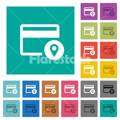 Credit card usage tracking square flat multi colored icons - Credit card usage tracking multi colored flat icons on plain square backgrounds. Included white and darker icon variations for hover or active effects.