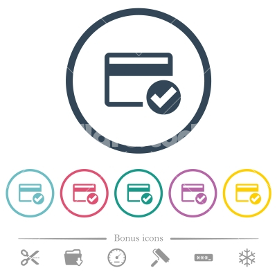 Credit card verified flat color icons in round outlines - Credit card verified flat color icons in round outlines. 6 bonus icons included.