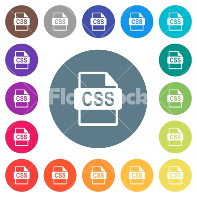 CSS file format flat white icons on round color backgrounds - CSS file format flat white icons on round color backgrounds. 17 background color variations are included.