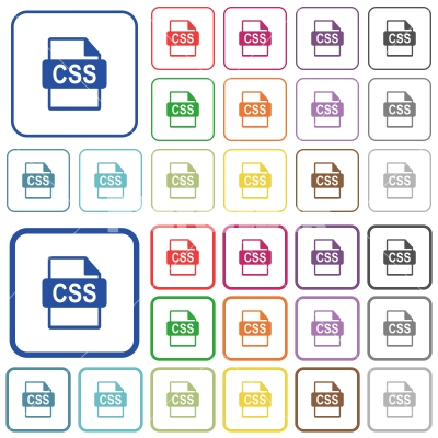 CSS file format outlined flat color icons - CSS file format color flat icons in rounded square frames. Thin and thick versions included.