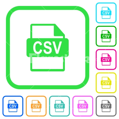 CSV file format vivid colored flat icons - CSV file format vivid colored flat icons in curved borders on white background
