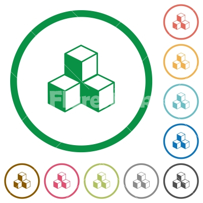 Cubes flat icons with outlines - Cubes flat color icons in round outlines on white background