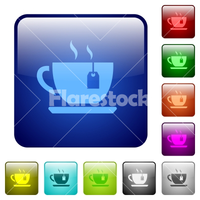 Cup of tea with teabag color square buttons - Cup of tea with teabag icons in rounded square color glossy button set
