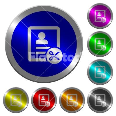 Cut contact data luminous coin-like round color buttons - Cut contact data icons on round luminous coin-like color steel buttons