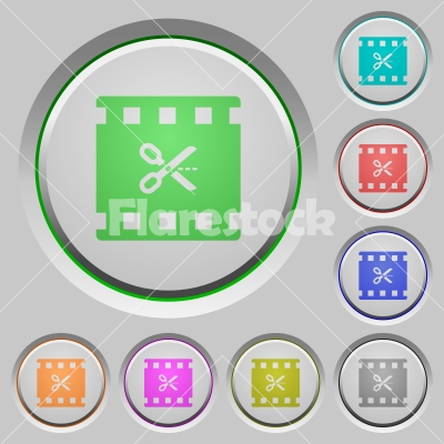 Cut movie push buttons - Cut movie color icons on sunk push buttons