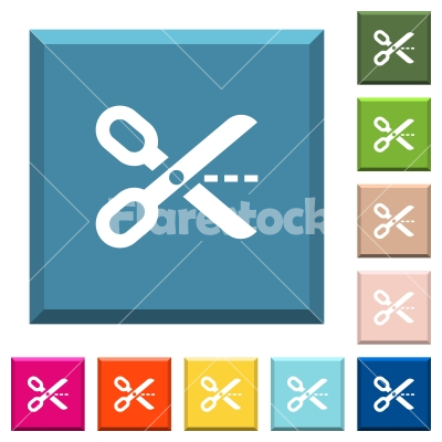 Cut out white icons on edged square buttons - Cut out white icons on edged square buttons in various trendy colors