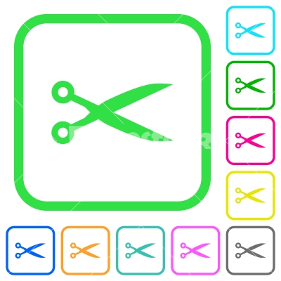 Cut with scissors vivid colored flat icons - Cut with scissors vivid colored flat icons in curved borders on white background