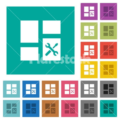 Dashboard tools square flat multi colored icons - Dashboard tools multi colored flat icons on plain square backgrounds. Included white and darker icon variations for hover or active effects. - Free stock vector