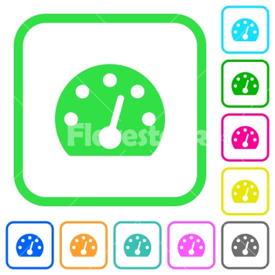 Dashboard vivid colored flat icons - Dashboard vivid colored flat icons in curved borders on white background