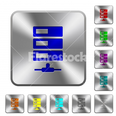 Data network rounded square steel buttons - Data network engraved icons on rounded square glossy steel buttons