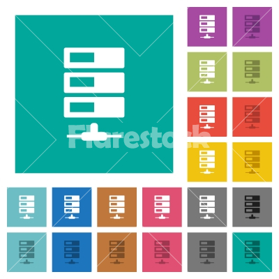 Data network square flat multi colored icons - Data network multi colored flat icons on plain square backgrounds. Included white and darker icon variations for hover or active effects.
