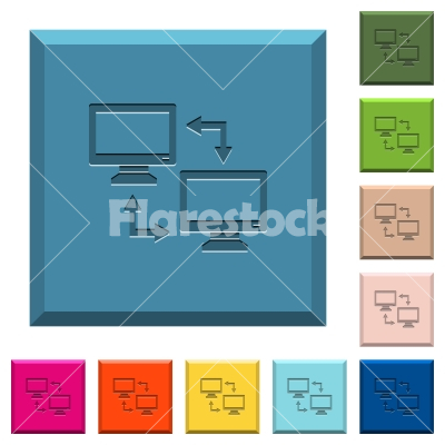 Data syncronization engraved icons on edged square buttons - Data syncronization engraved icons on edged square buttons in various trendy colors