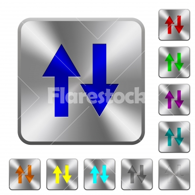 Data traffic rounded square steel buttons - Data traffic engraved icons on rounded square glossy steel buttons