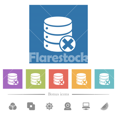 Database cancel flat white icons in square backgrounds - Database cancel flat white icons in square backgrounds. 6 bonus icons included.