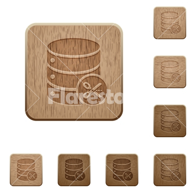 Database cut wooden buttons - Database cut on rounded square carved wooden button styles
