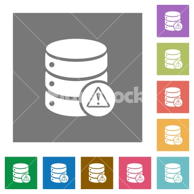 Database error square flat icons - Database error flat icons on simple color square backgrounds