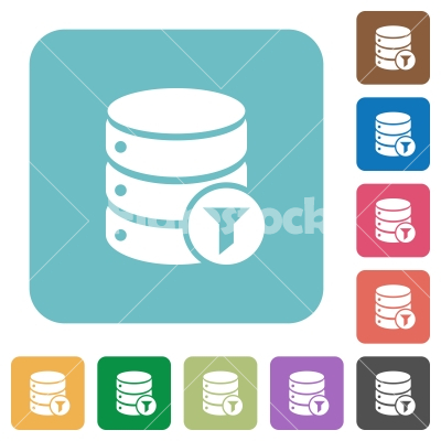 Database filter rounded square flat icons - Database filter white flat icons on color rounded square backgrounds