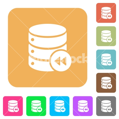Database macro fast backward rounded square flat icons - Database macro fast backward flat icons on rounded square vivid color backgrounds.