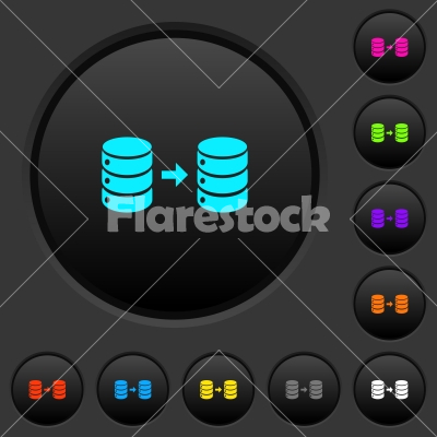 Database mirroring dark push buttons with color icons - Database mirroring dark push buttons with vivid color icons on dark grey background