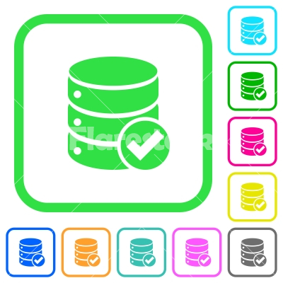 Database ok vivid colored flat icons - Database ok vivid colored flat icons in curved borders on white background