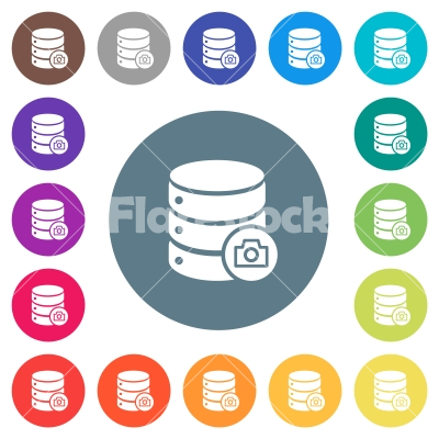 Database snapshot flat white icons on round color backgrounds - Database snapshot flat white icons on round color backgrounds. 17 background color variations are included.