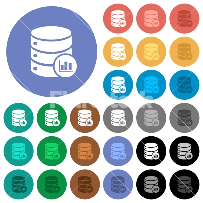 Database statistics round flat multi colored icons - Database statistics multi colored flat icons on round backgrounds. Included white, light and dark icon variations for hover and active status effects, and bonus shades on black backgounds.