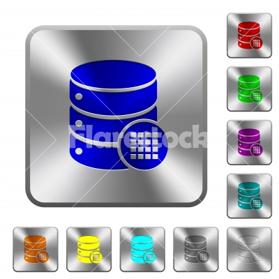 Database table cells rounded square steel buttons - Database table cells engraved icons on rounded square glossy steel buttons