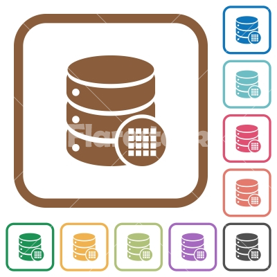 Database table cells simple icons - Database table cells simple icons in color rounded square frames on white background